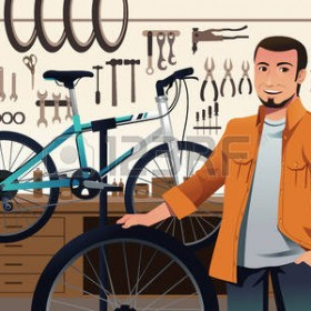 25961227-a-illustration-of-bicycle-store-owner-in-his-bike-repair-shop